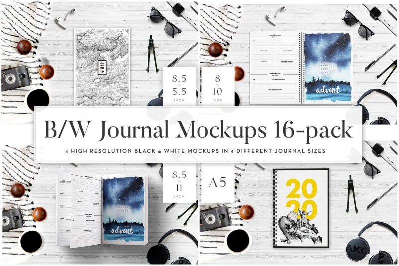 Black&White Journal Mockups: 16 in 1